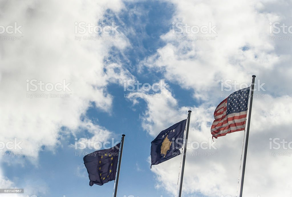 Flags of Kosovo, EU and USA stock photo
