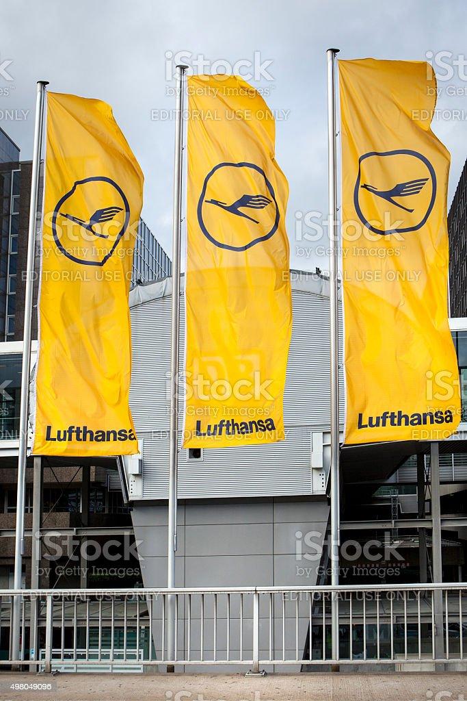 Flags of Lufthansa stock photo