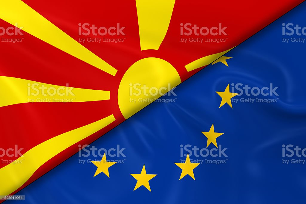 Flags of Macedonia and the European Union Divided Diagonally stock photo