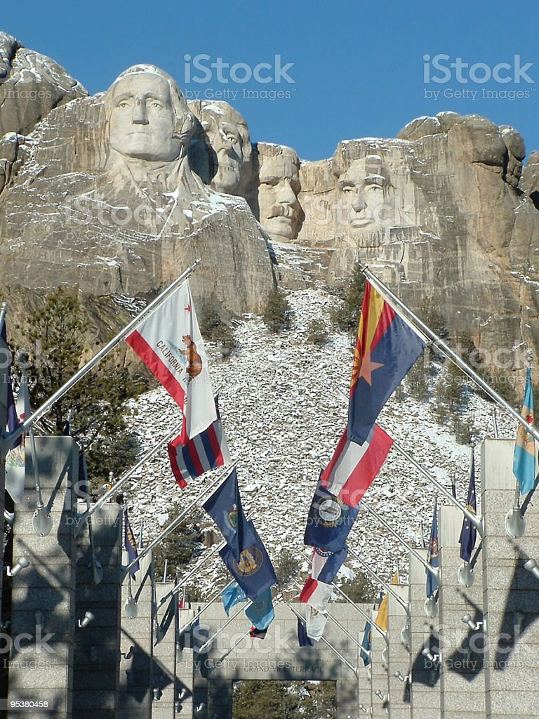 Flags of Mt Rushmore stock photo