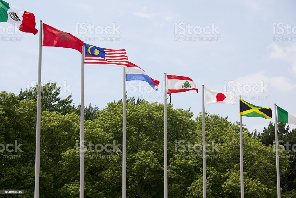 Flags of nations at the Montreal Olympic Stadium, Canada stock photo
