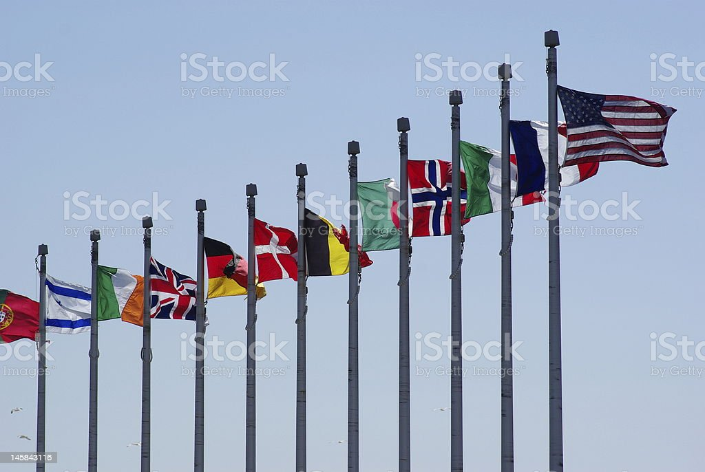 Flags of Nations stock photo