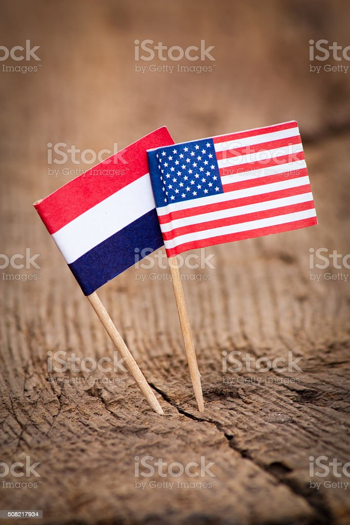 Flags of Netherlands and USA stock photo