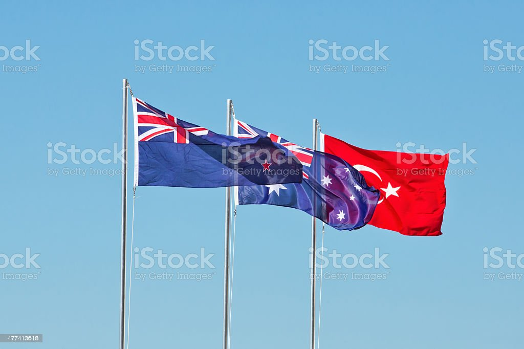 Flags of New Zealand, Australia and Turkey flying together stock photo