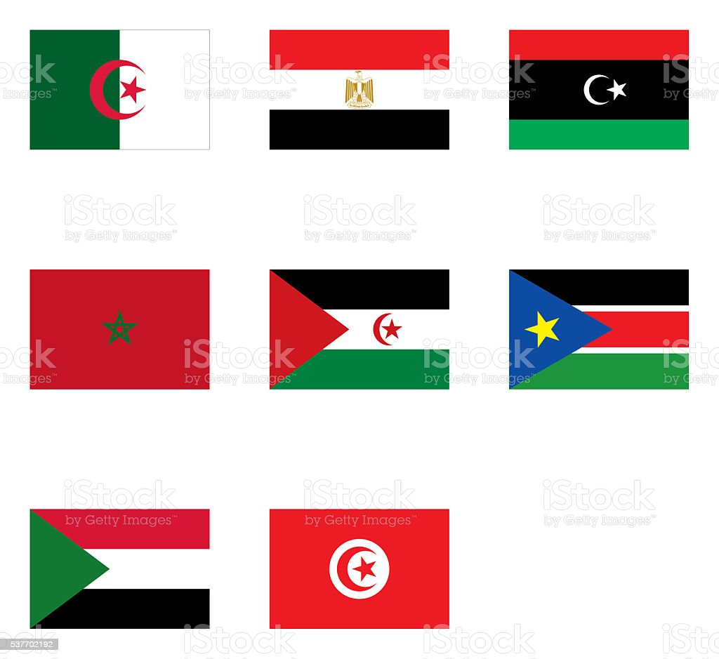 flags of North Africa stock photo