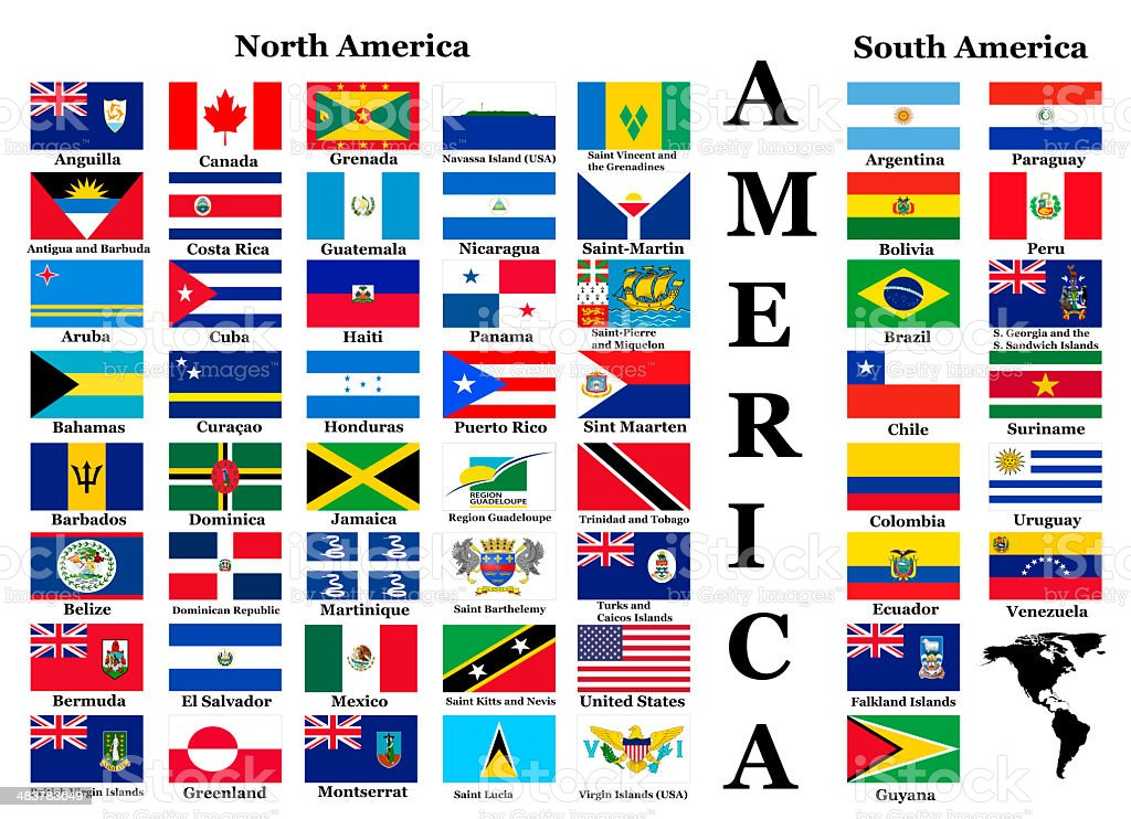 Flags of North and South America stock photo
