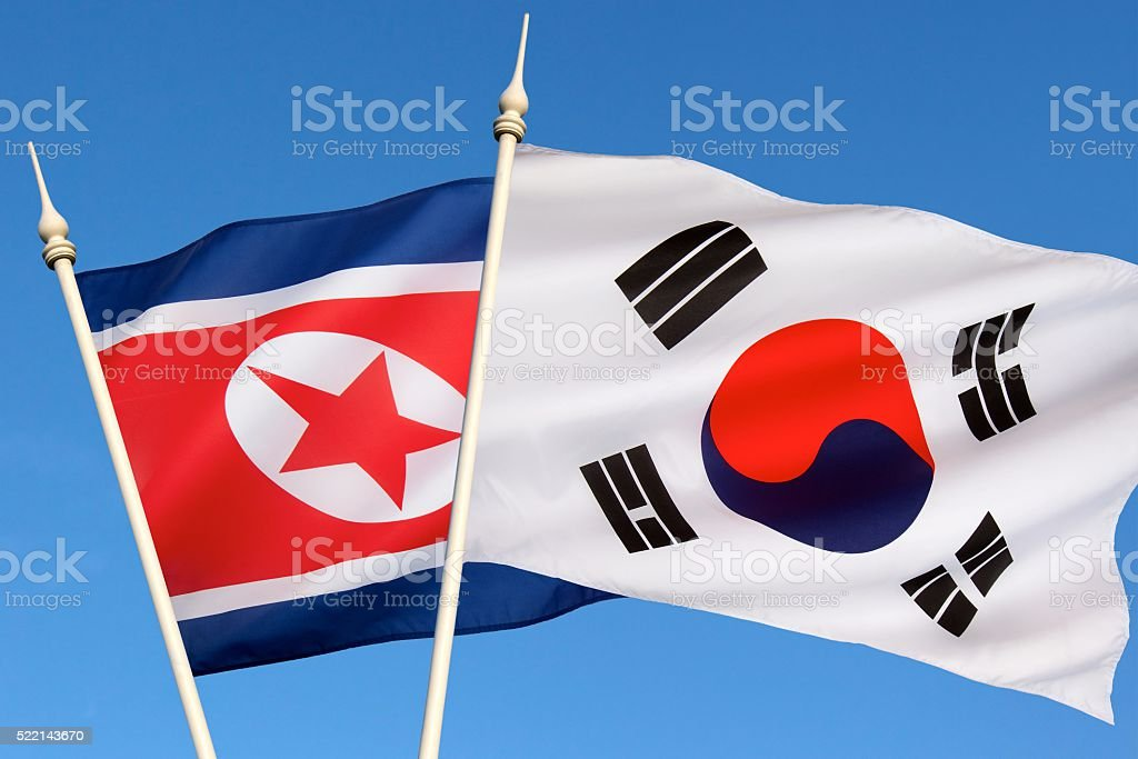 Flags of North and South Korea stock photo