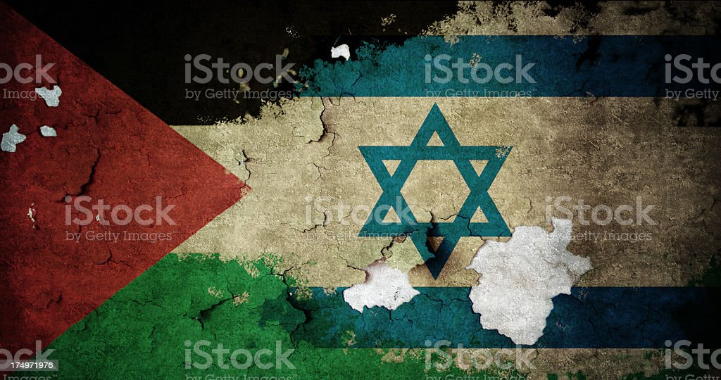 Flags of Palestine and Israel stock photo