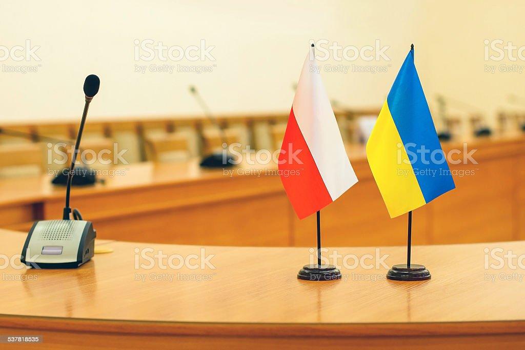 Flags of Poland and Ukraine stock photo