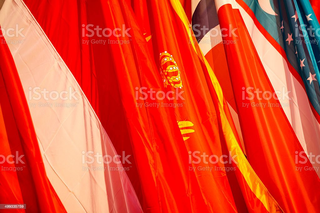 Flags of poland, Norway and Uzbekistan stock photo