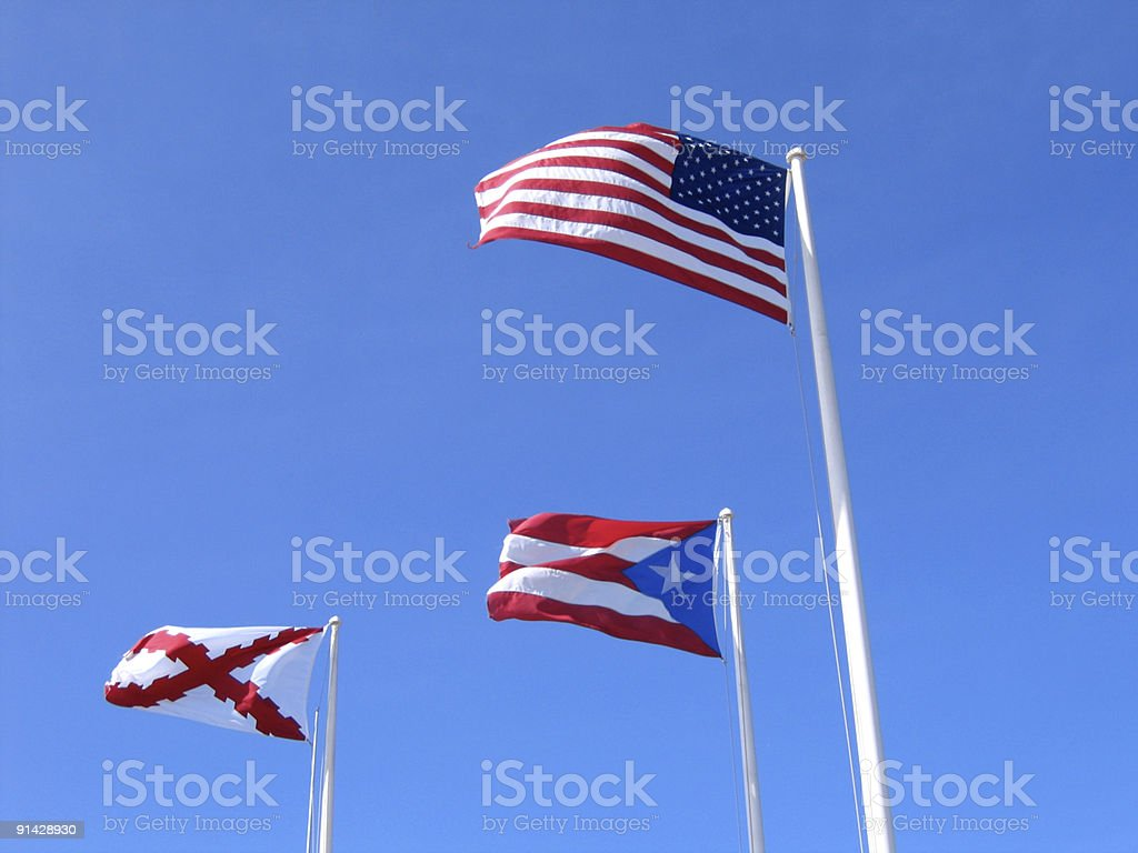 Flags of Puerto Rico stock photo