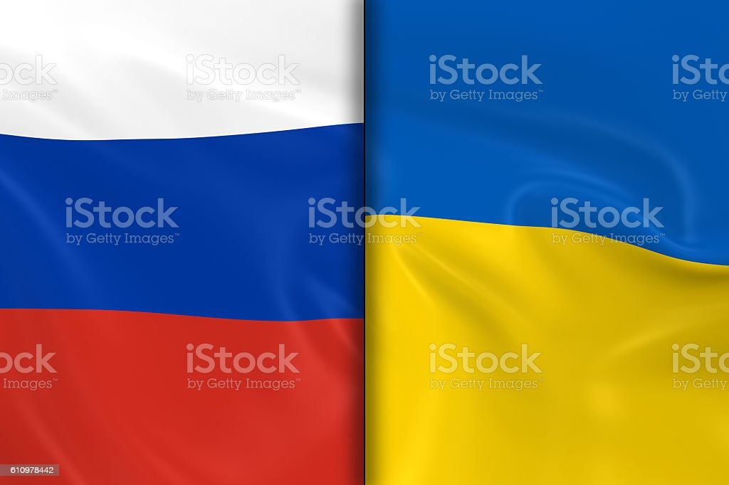 Flags of Russia and Ukraine Split Down the Middle stock photo