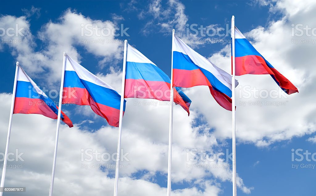 Flags of Russia stock photo