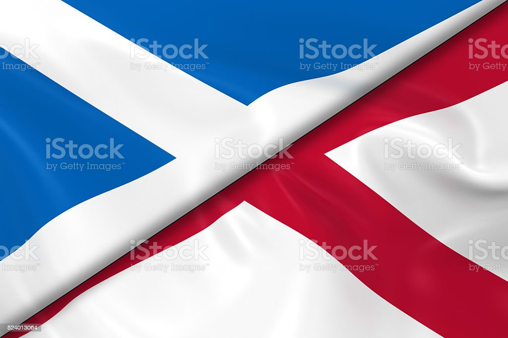 Flags of Scotland and Northern Ireland Divided Diagonally stock photo