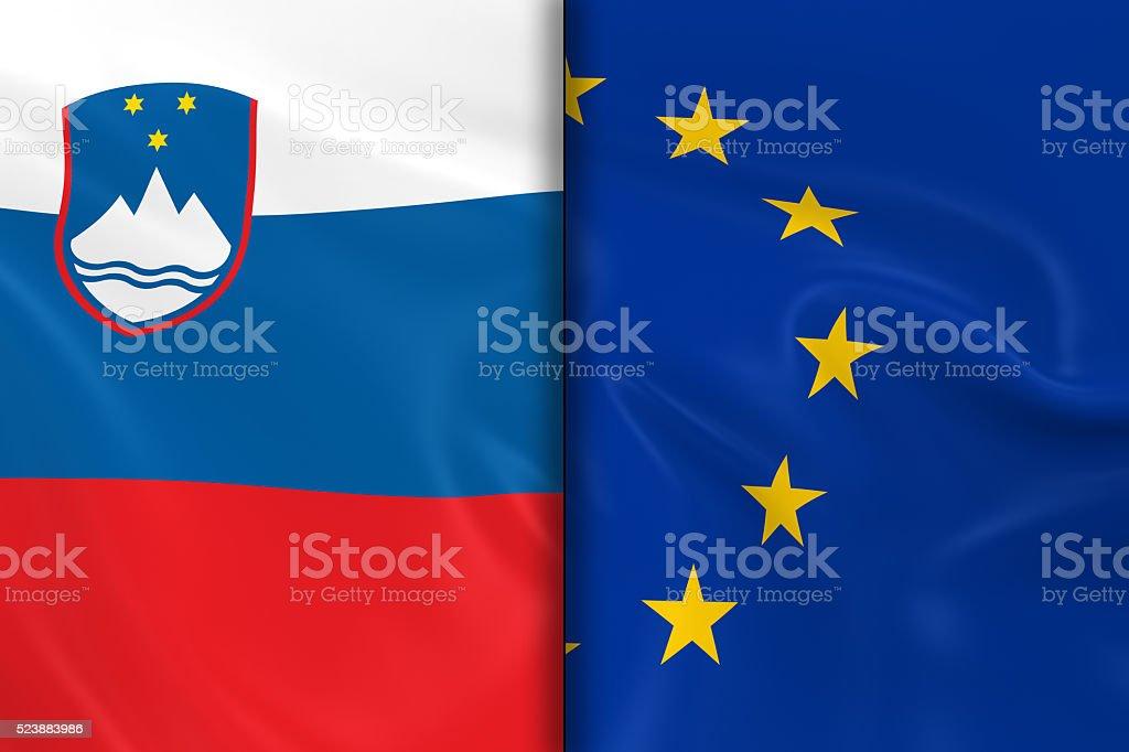 Flags of Slovenia and the European Union Split stock photo