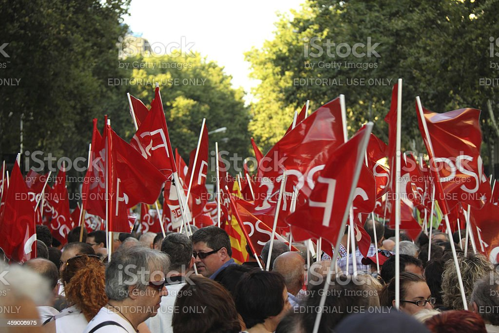 Flags of Socialist Party stock photo