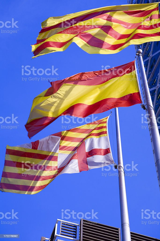 Flags of spain royalty-free stock photo