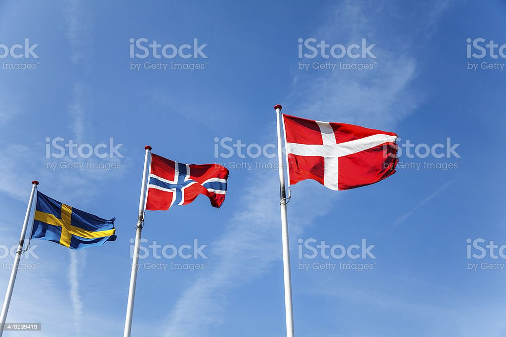 Flags of  Sweden, Norway and Denmark royalty-free stock photo