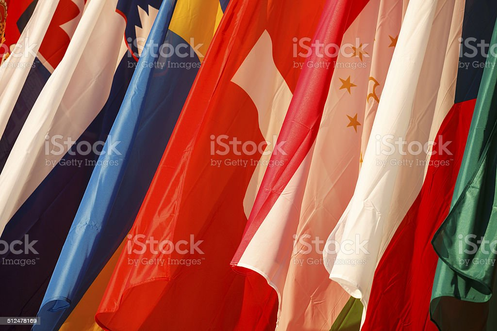 Flags of Tajikistan, Switzerland, Slovenia, Sweden and the Czech Republic stock photo