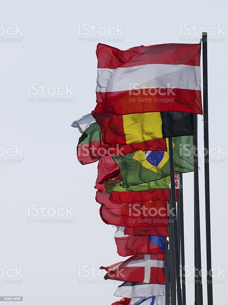 Flags of the different countries royalty-free stock photo
