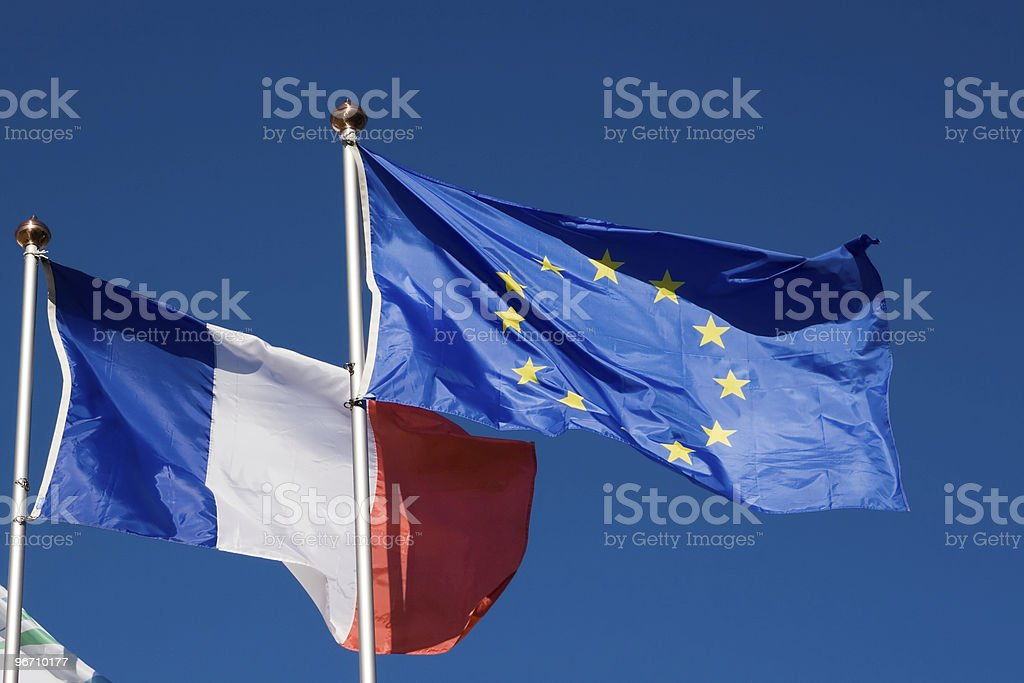Flags of the European Union and France royalty-free stock photo