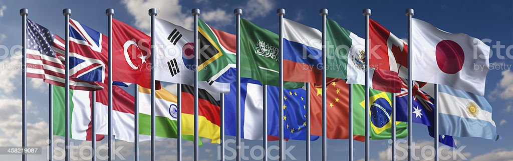 Flags of the G-20 nations stock photo