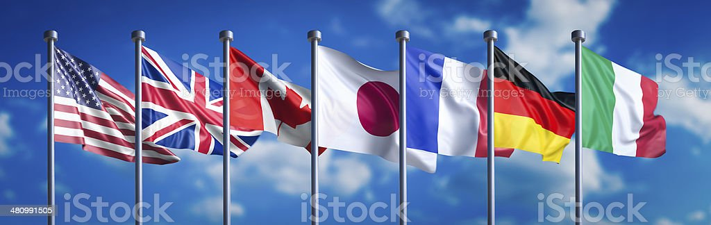 Flags of the G7 nations stock photo