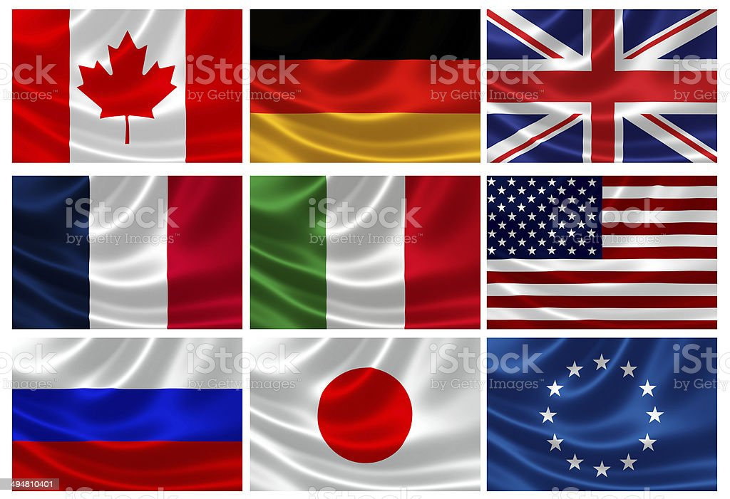Flags of the G8 Industrialized Countries and EU stock photo