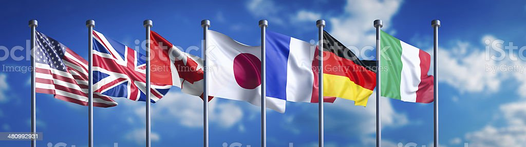 Flags of the G8 nations with missing Russian flag royalty-free stock photo