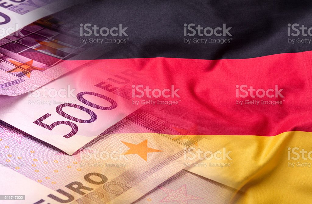Flags of the Germany and the European Union.Flag money concept stock photo