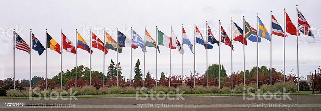 Flags of the Korean War Coalition stock photo