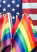 flags of the LGBT community on a background