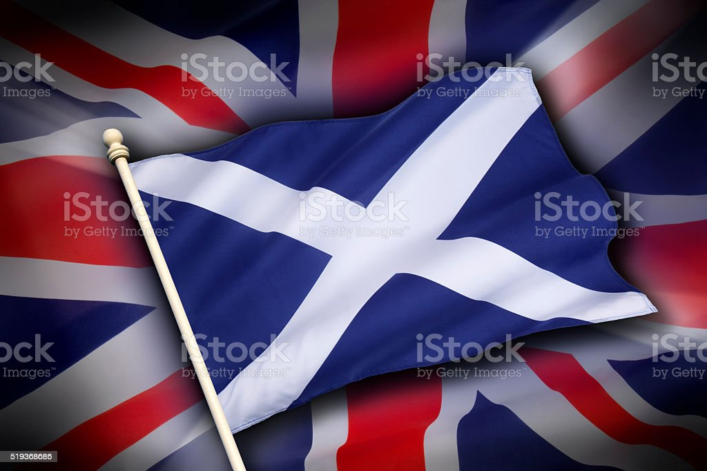 Flags of the United Kingdom and Scotland - Scottish Independence stock photo
