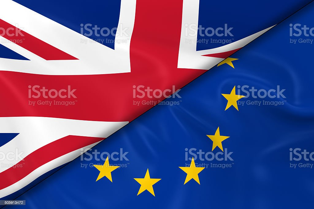 Flags of the United Kingdom and the European Union Divided stock photo