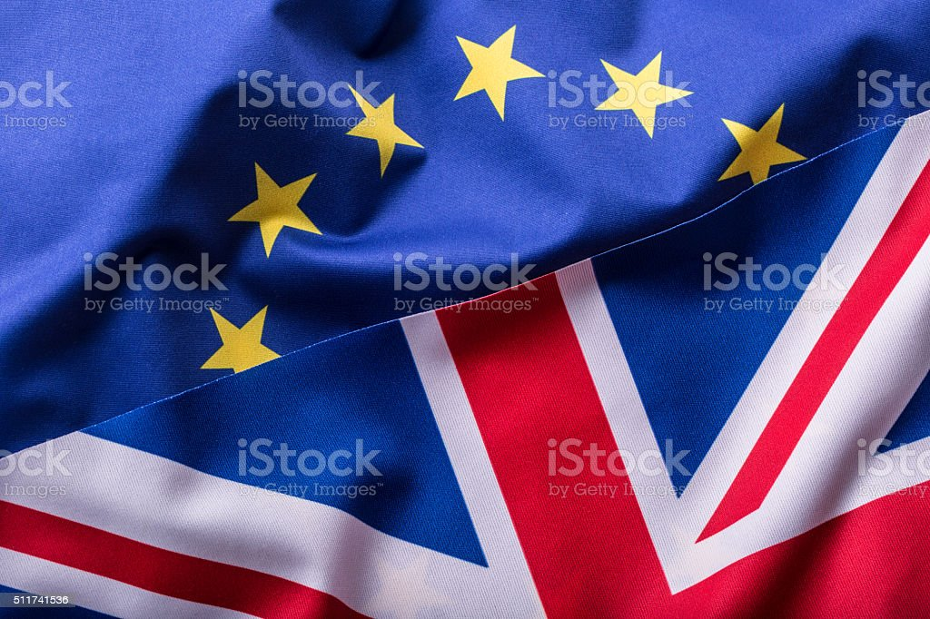 Flags of the United Kingdom and the European Union. stock photo