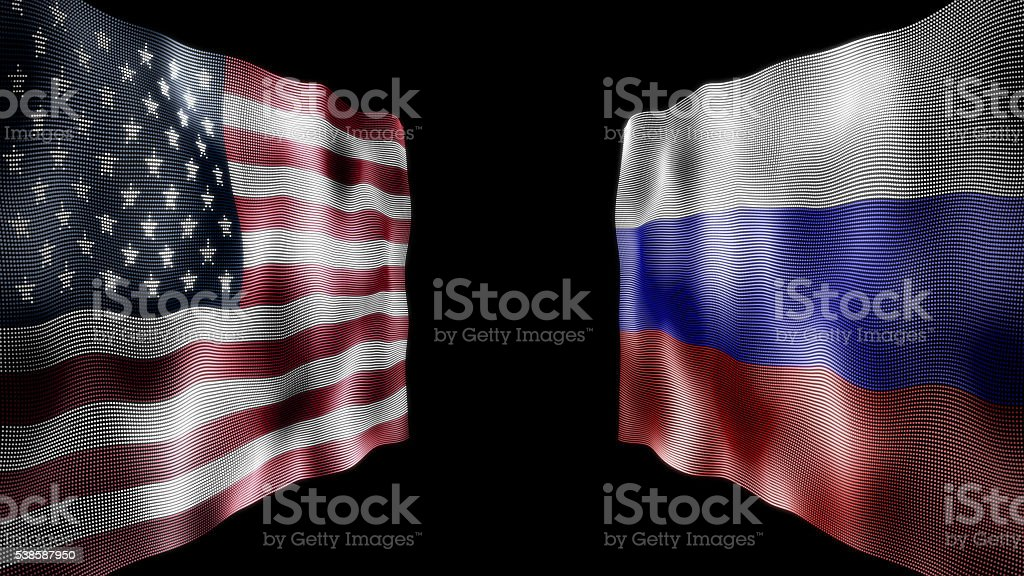Flags of the United States and Russia against each other stock photo