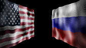 Flags of the United States and Russia against each other