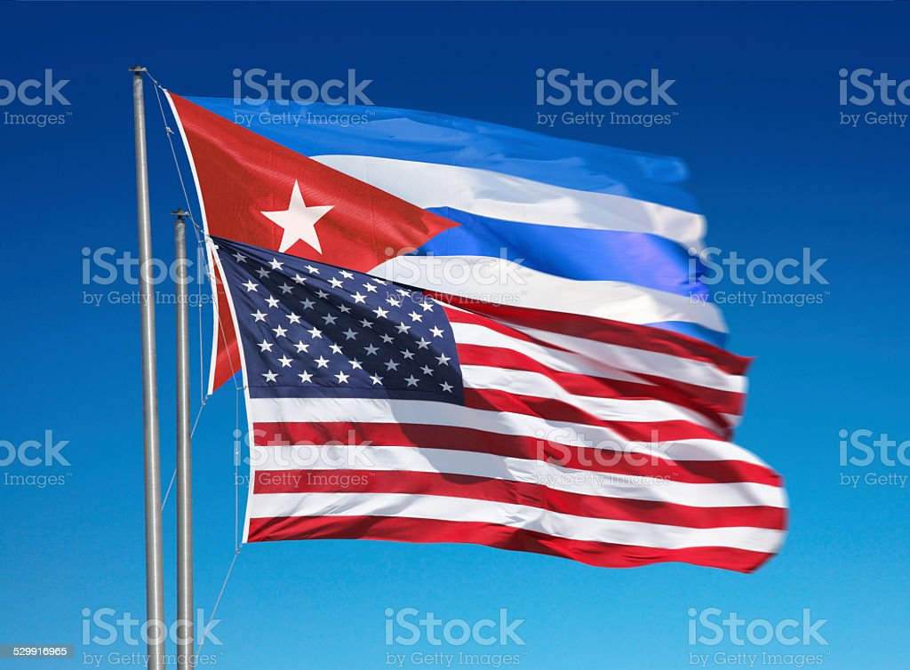 Flags of the United States of America and Cuba stock photo