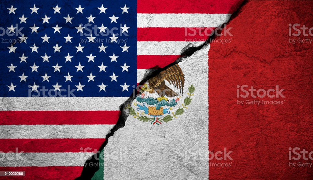 Flags of the United States of America and the Mexico stock photo