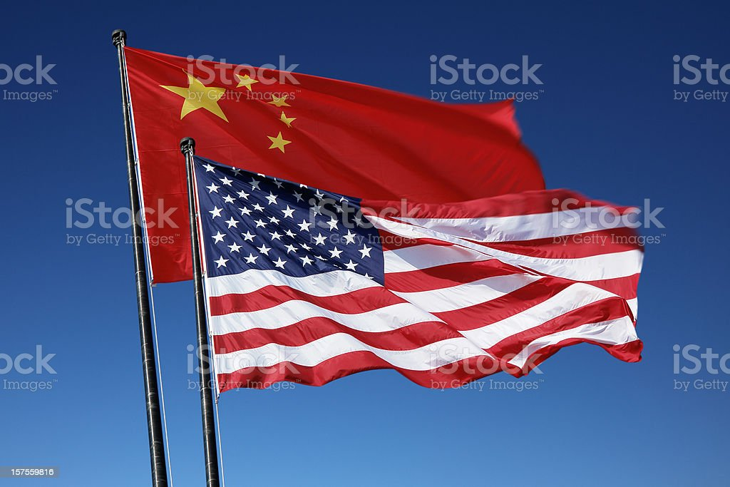 Flags of the USA and China royalty-free stock photo