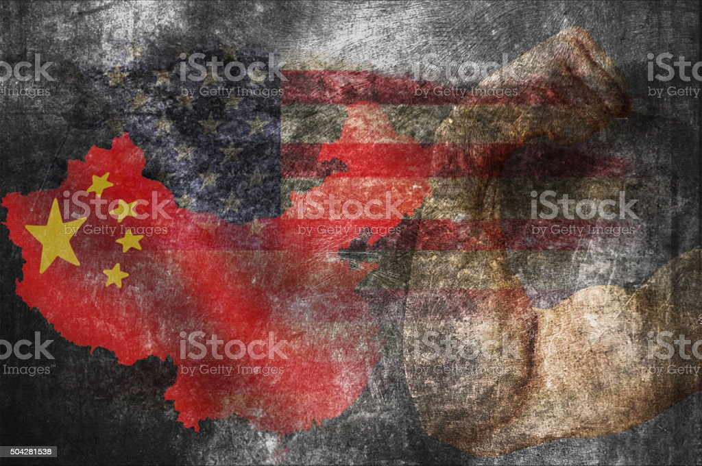 Flags of the USA and China stock photo