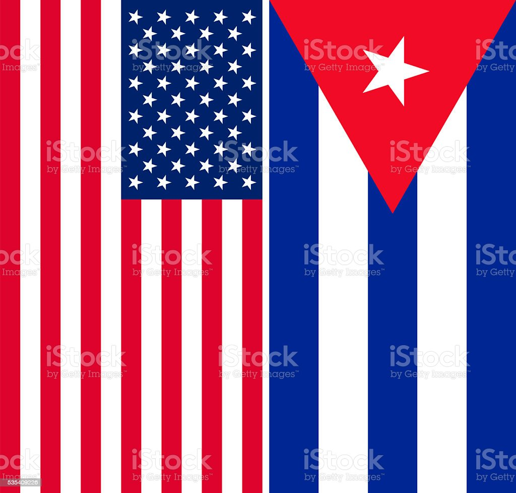 Flags of the USA and Cuba stock photo