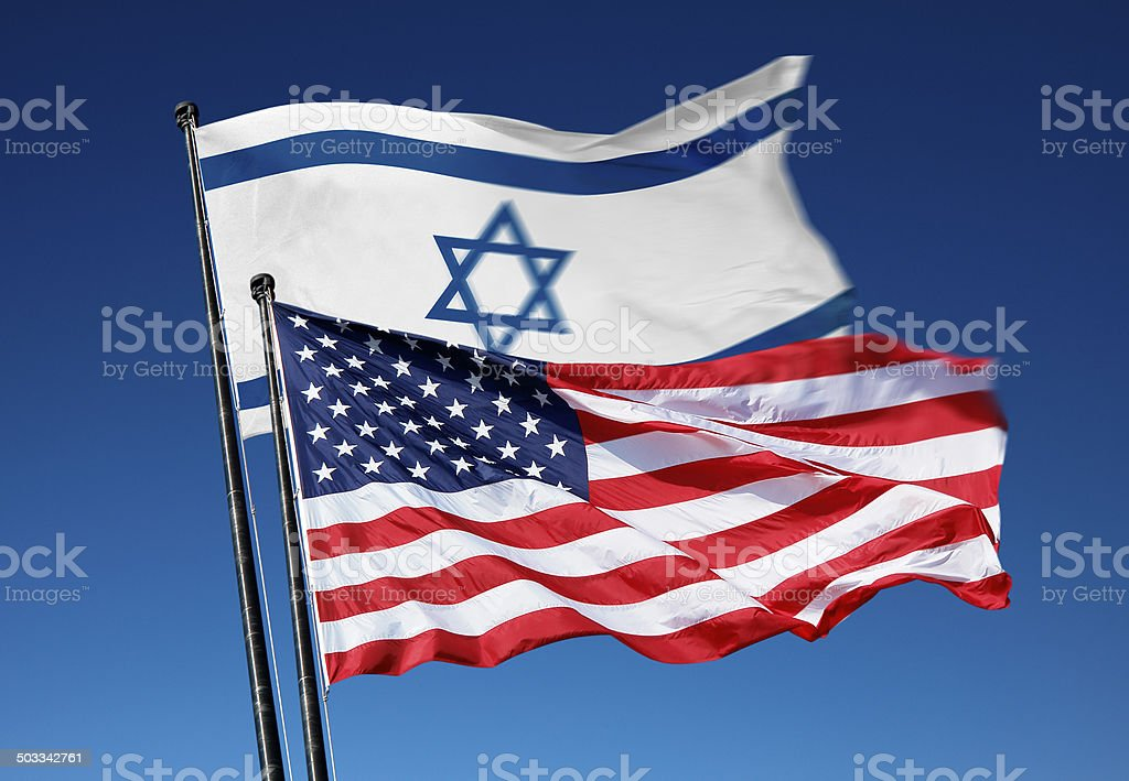 Flags of the USA and Israel stock photo