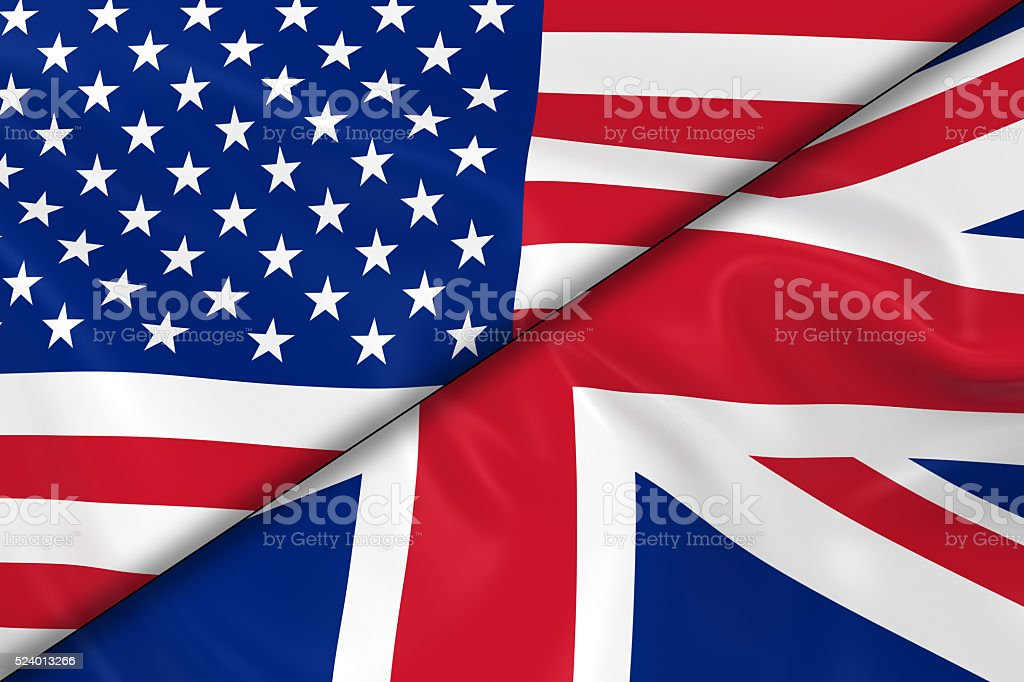 Flags of the USA and the UK Divided Diagonally stock photo