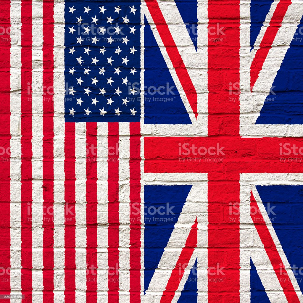 Flags of the USA and the UK stock photo