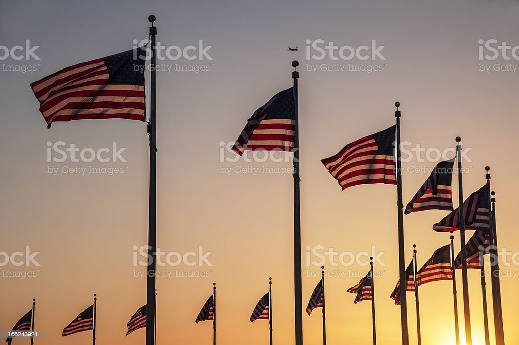 Flags of the Washington Monument royalty-free stock photo