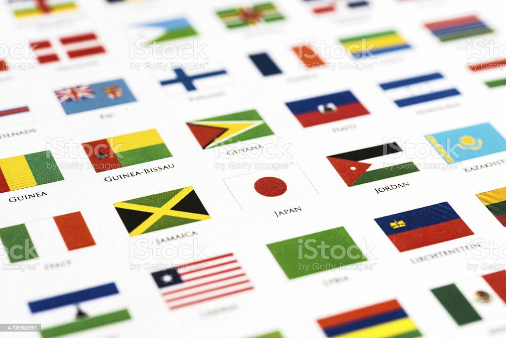 flags of the world – Japan and his alphabetical neighbor stock photo