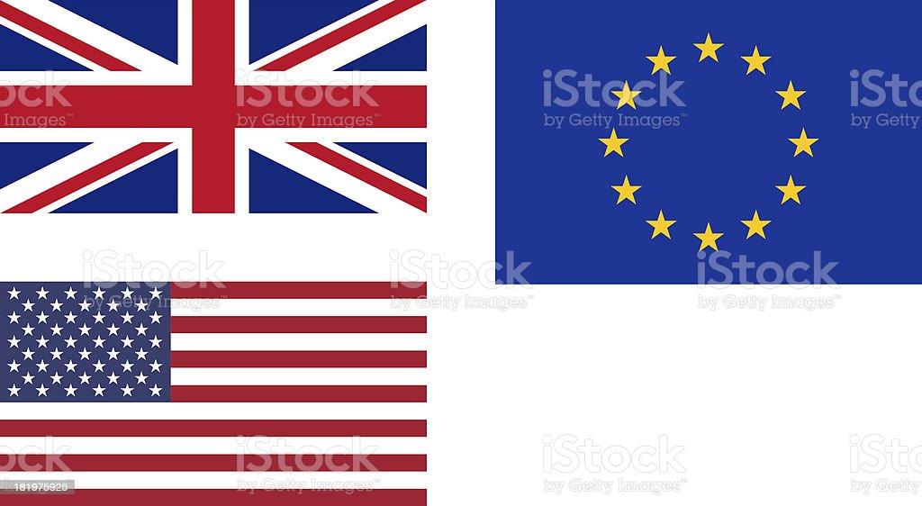 Flags of UK EU USA royalty-free stock photo