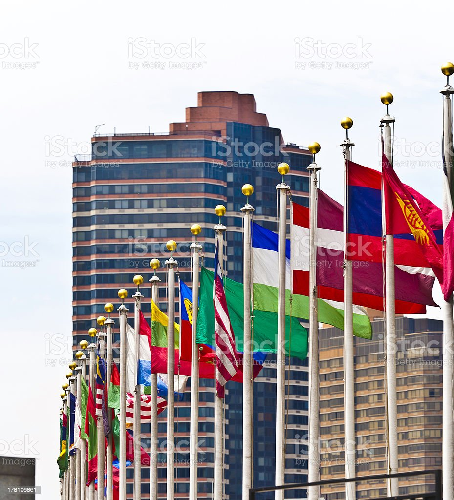 flags of UN members stock photo