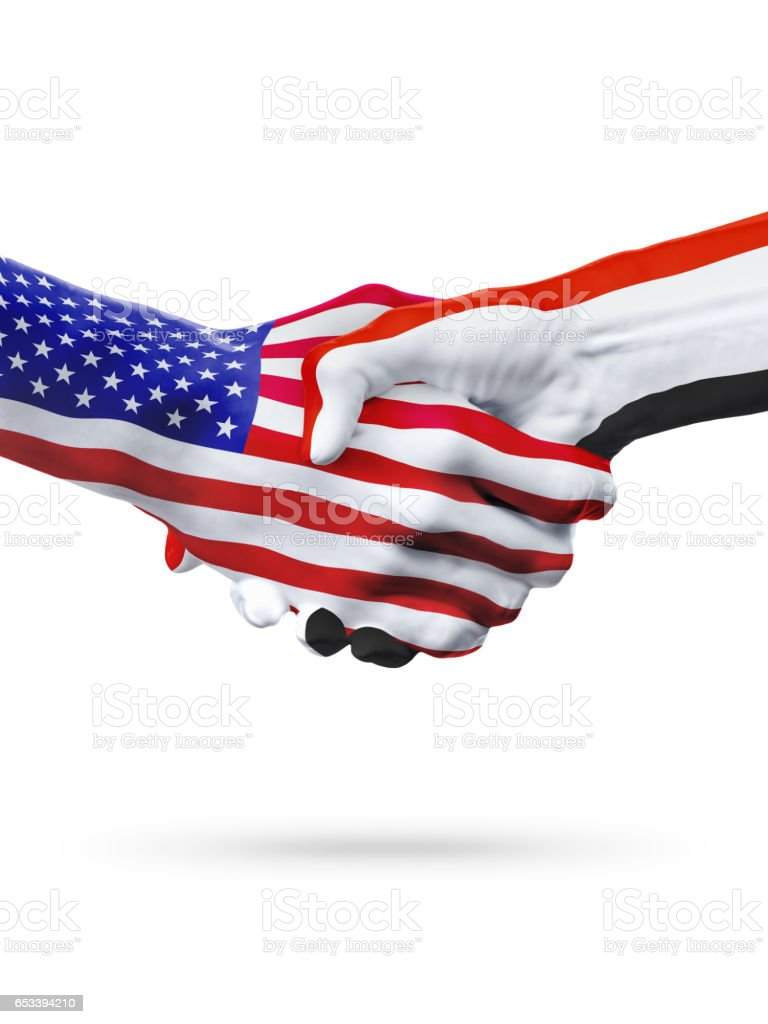 Flags of United States and Yemen countries, overprinted handshake. stock photo